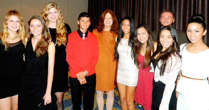 Santa Clarita Valley STF students at the ACLU dinner with STF Advisory Committee member Shari Leinwand. Photo by Crystal Biteng