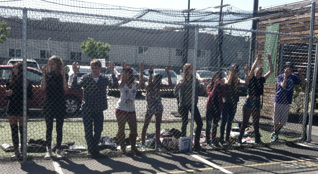 New Roads mock violation participants in the batting cages during event. Photo by Kristin Ghazarians