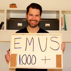 """EMUS 1,000+"" - from Europe, Bede Sheppard sends STF congratulations."