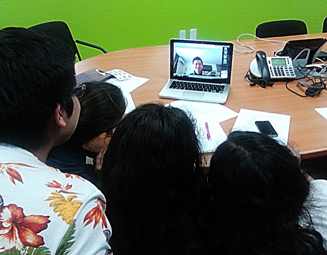 STFers use Google Hangout to meet with students in Japan. Photo by Kristin Ghazarians.