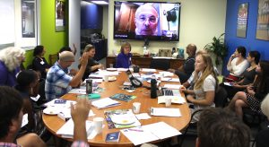 Skyping with Bill Fernekes, HRE expert, in New Jersey. Photo by Alique Berberian