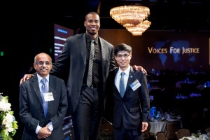 Honorees Dr. M.R. Rajagopal and Shin Dong-Hyuk with Jason Collins, NBA player, at the Human Rights Watch Voices for Justice Dinner. Photo by Maya Myers.