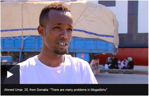 Ahmed says a combination of violence in Mogadishu and a lack of work and education opportunities prompted him to leave. Having already completed a long journey overland to Turkey, he says his ultimate destination is Germany.