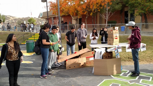 "Students had to work together to build their own ""refugee shelter"" at Canyon High School. Photo by Narkis Garcia."
