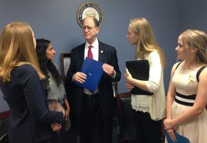 STF Delegation presents Congressman Sherman letters of thanks for his vote to stop anti-refugee legislation. Photo by Kristin Ghazarians