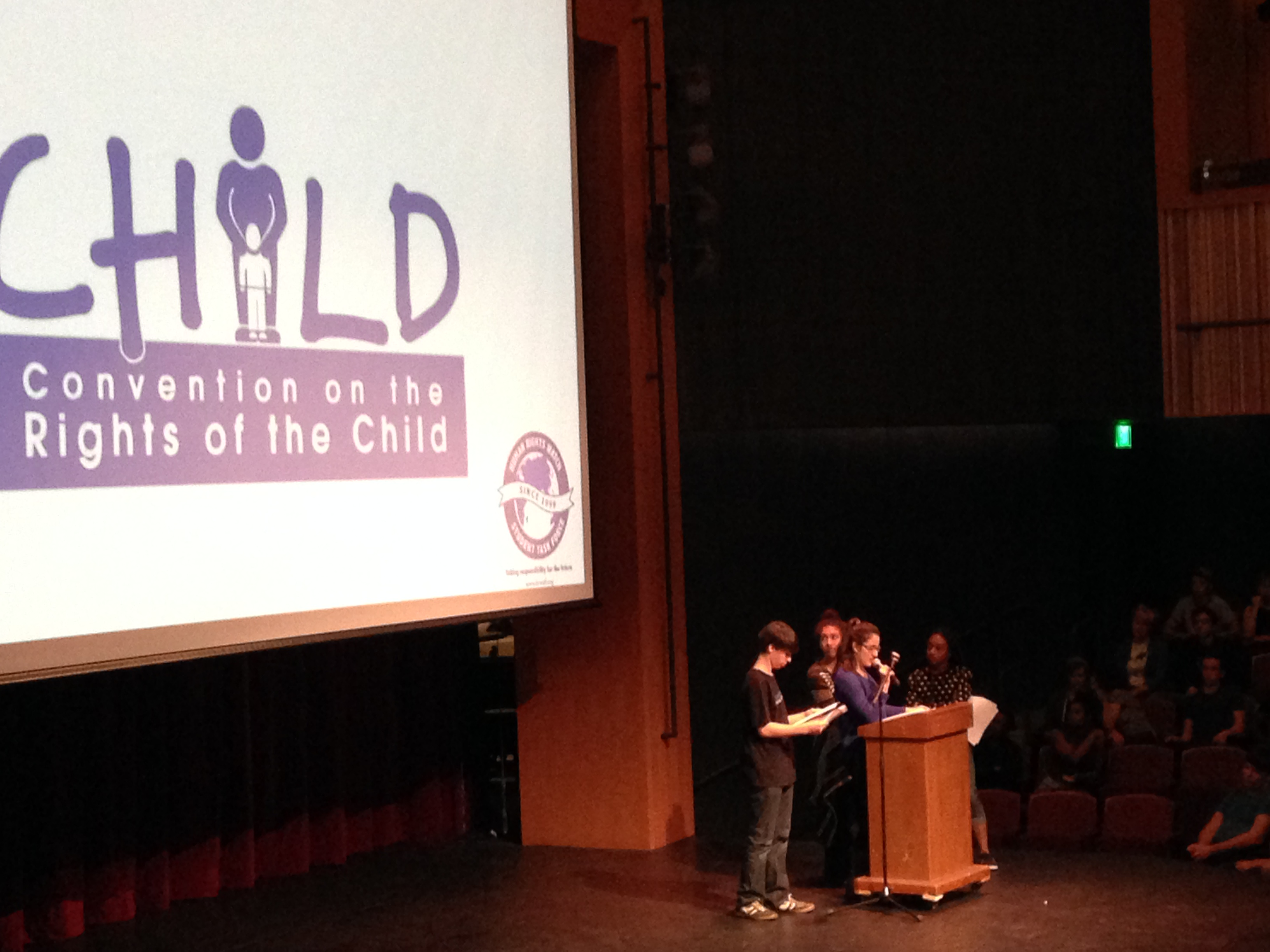 At an all school meeting, New Roads School STF presented facts about children's rights. Photo by Kristin Ghazarians.