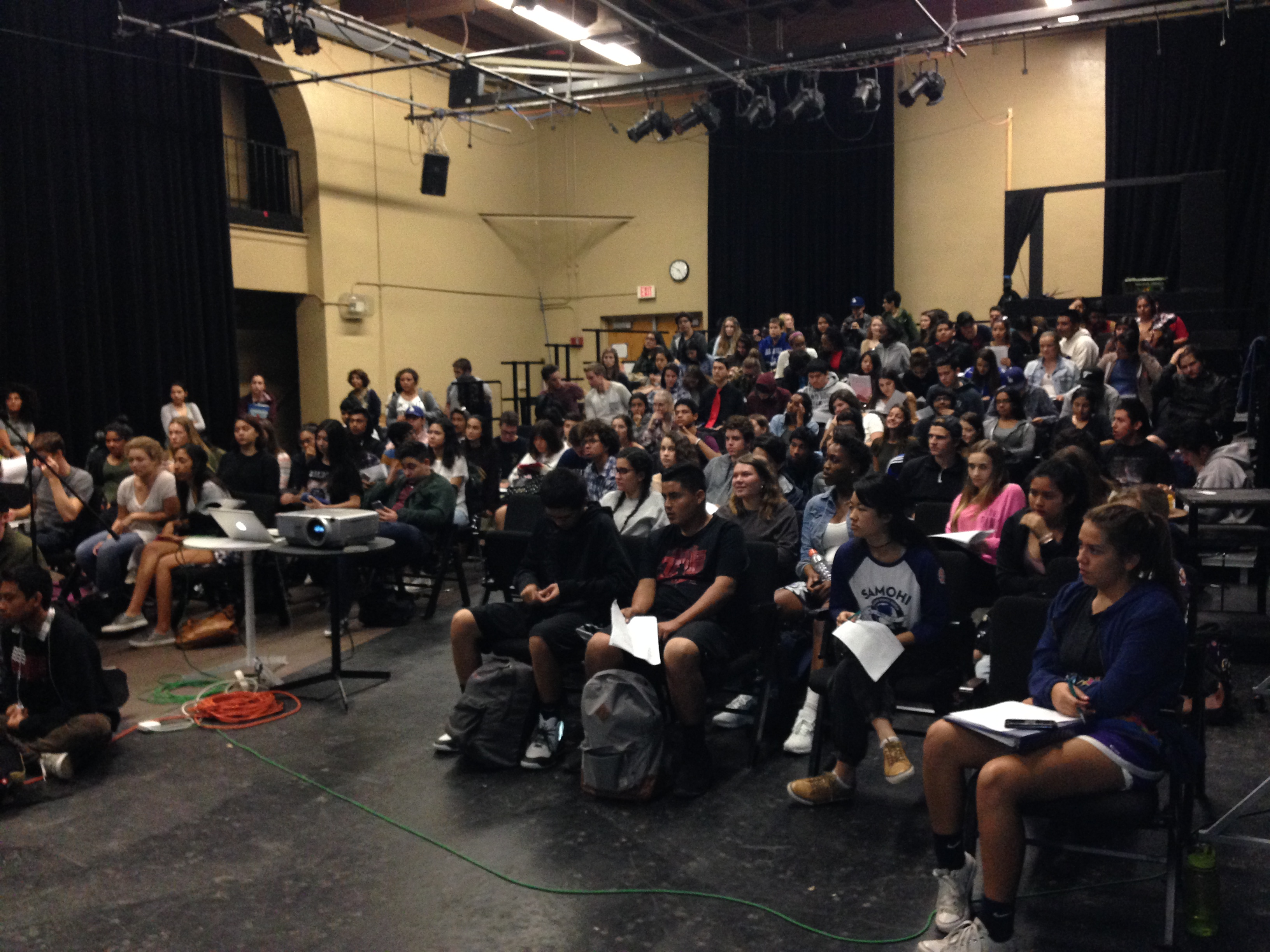 "Santa Monica High School screened ""Salam Neighbor"" for a beyond capacity crowd. Photo by Kristin Ghazarians."