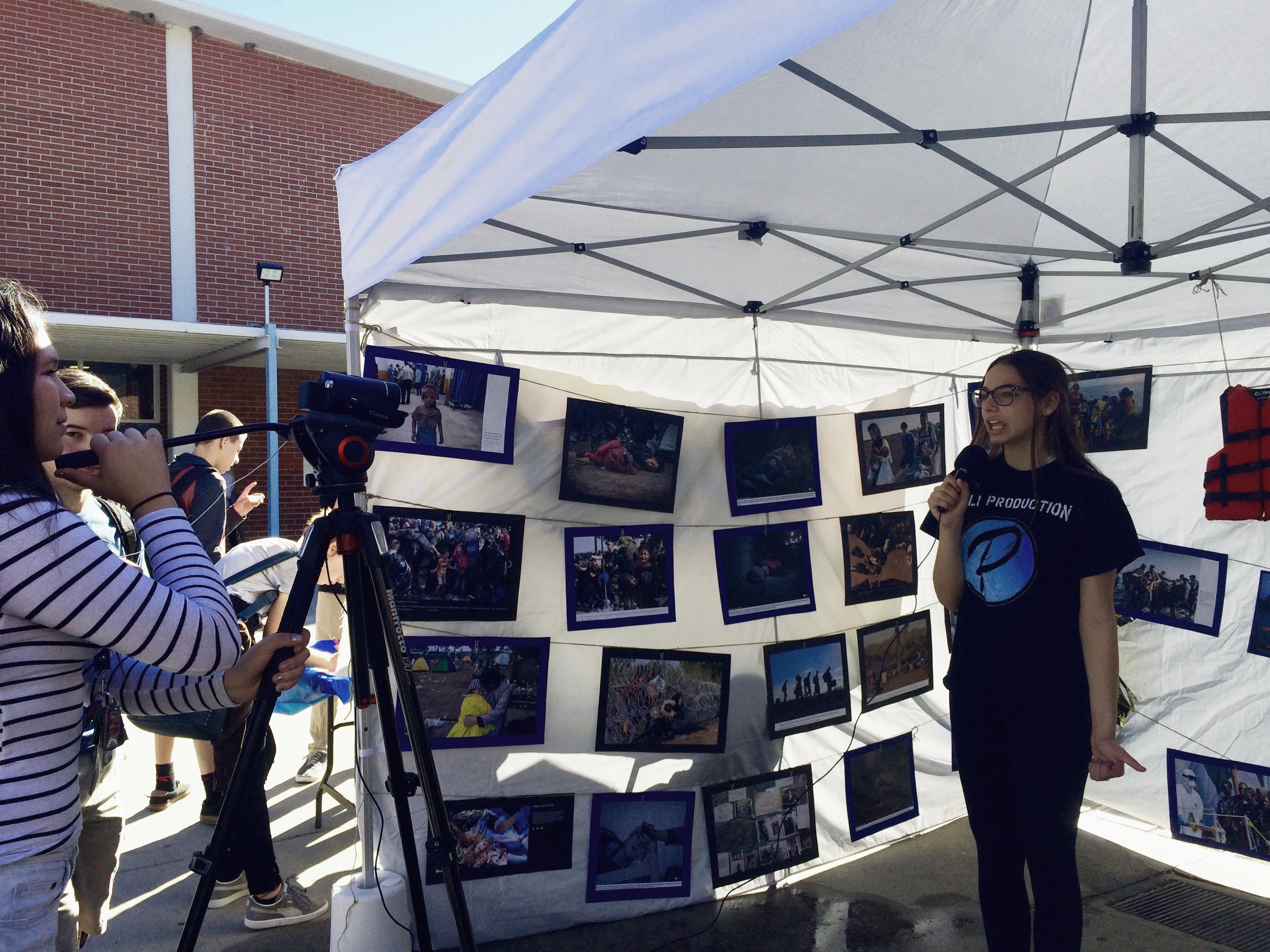 "Palisades Charter High School hosted a screening of ""Salam Neighbor"" and their refugee tent exhibit got on-campus media coverage.<br>Photo by Heather Odell."