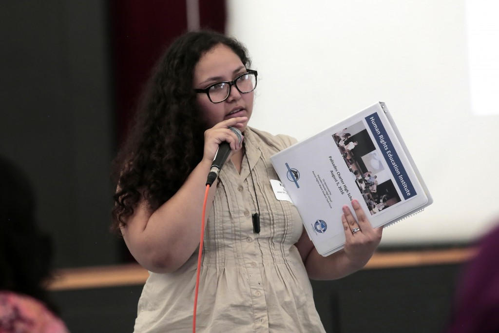 Pali alumna Karina Duarte, speaks to HRE Institute about how essential human rights education was to her high school experience. Photo by Patricia Williams